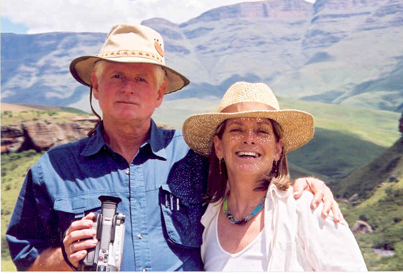 Andrew Cameron Bailey and Connie Baxter Marlow on location in the Drakensberg Mountains, Africa.